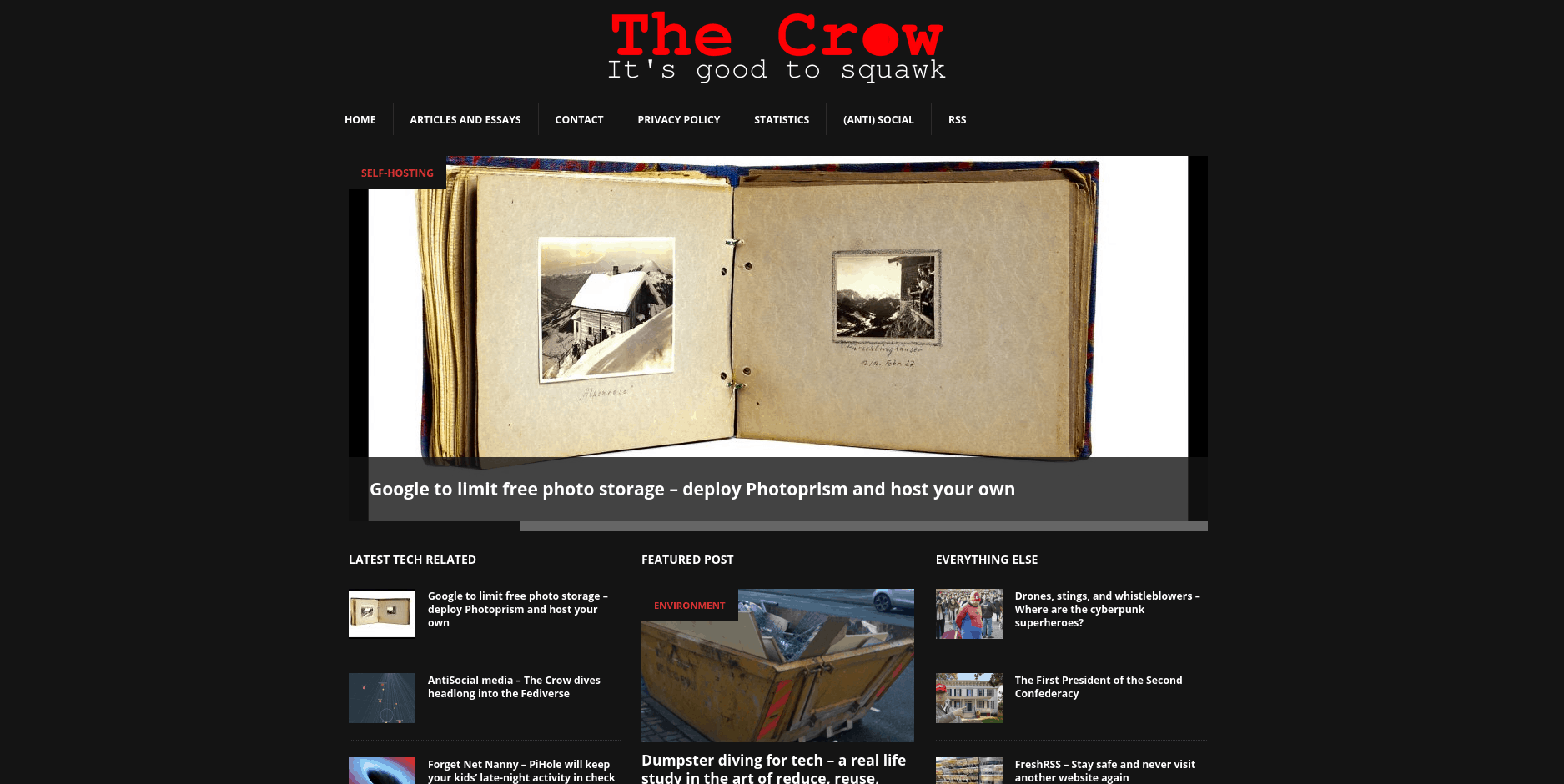 The old Crow WordPress site